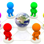 3D colourful people networking around the world - isolated over white
